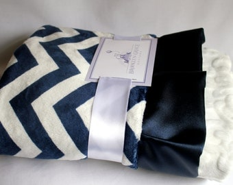 Navy and White Chevron with White Embossed Vine and Navy Ruffle Trim Minky Baby Blanket -  Nautical, Baby boy or girl