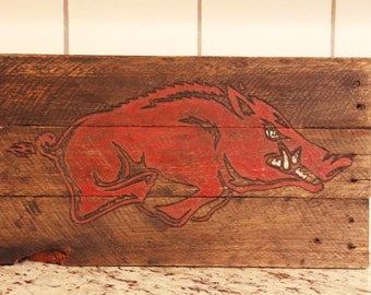 Handmade Arkansas Razorbacks Wood Sign