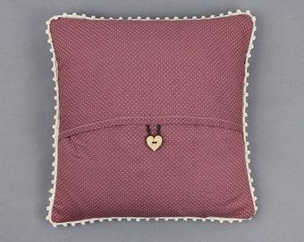 Dusky Berry Polka Dot Pom Pom Pillow
