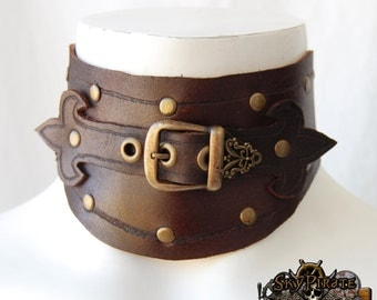 Steampunk Evelyn Leather Neck Corset Posture Collar