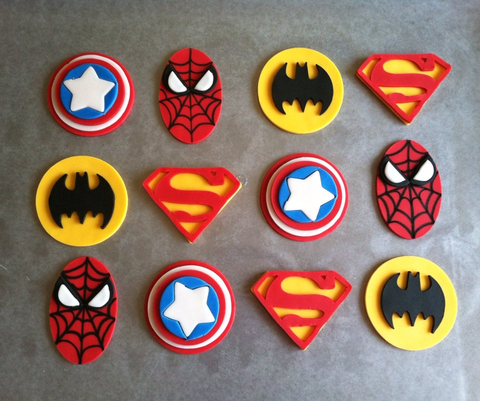 1 Dozen Fondant Super Hero Cupcake Toppers