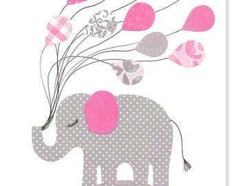 Nursery Art Print Girl's Room Decor Elephant Nursery Fuchsia and Gray Grey Balloons 8 x 10 or 11 x 14 Print or Canvas Children Baby Playroom