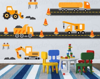 Construction Truck Decal - Transportation Wall Decals - Children Wall Decals - Boys Room Decals