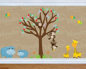 Jungle Decal - Jungle Wall Decal - Kids Wall Decals SET - Sunny Safari  - Baby Boys Girls Bedroom Room - Repositionable  Wall Decals