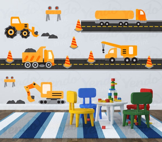 construction truck decal transportation wall decals tonka truck wall sticker from wall chimp uk