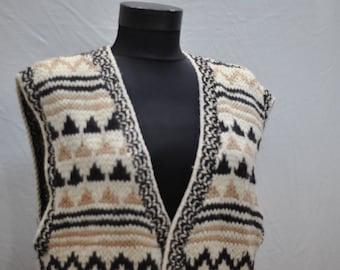 Vintage HAND KNIT pure wool vest ...