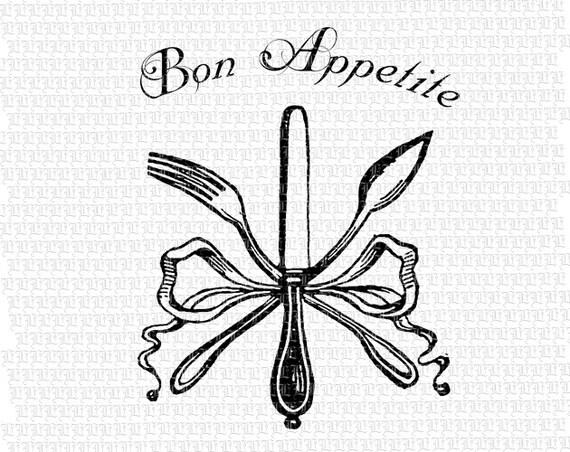 Vintage Knife Drawing Bon Appetite Fork Knife Spoon