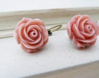 CLEARANCE Earrings, Dusty pink resin rose brass dangle earrinngs No. E224