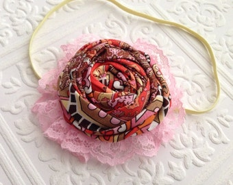 The Pink Paisley Lady Headband or Hair Clip