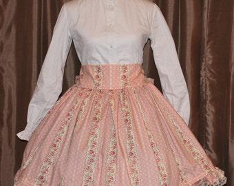 Hidden elastic waistband Lolita skirt with lace, Rose skirt, Rose and lace skirt, Sweet Lolita, elastic waistband skirt, Victorian skirt