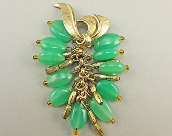 Vintage Czeh Glass Brooch 1950s Jewelry Green Glass Jewellery Costume Jewelry Vintage Collectibles