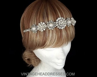 Vintage Art Deco Jewelled Flapper Forehead Band / Headband - Great Gatsby - Downton Abbey - Bridal Headpiece - Wedding Headband - OOAK