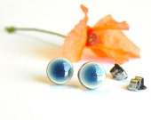 Tiny Ceramic Earrings Denim Blue Stud Earrings Hypoallergenic Post Shiny Modern Pottery Jewelry