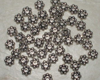 Antique Silver Daisy Spacers - 5MM