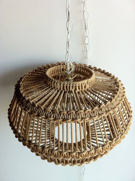 vintage Macrame-Jute style chandelier-Hanging Light