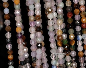 4mm Party Mixed Gemstone Faceted Round 4mm Loose Beads 15.5 inch Full Strand (90147792-121A)