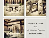 "Alhambra photography Set of 3 8""x8"" Court of the Lions and the Fabulous Fountain. Spain, Andalucia, Muslim monument, travel photography"