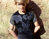 Grey Doll t-shirt \\ 1/6 Tshirt for Ken \\ Doll Top \\ Male Doll Top