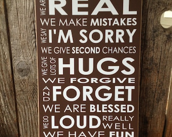 In this house sign we are real Family Rules.. home decor family decor sign Subway art gift love gallery wall