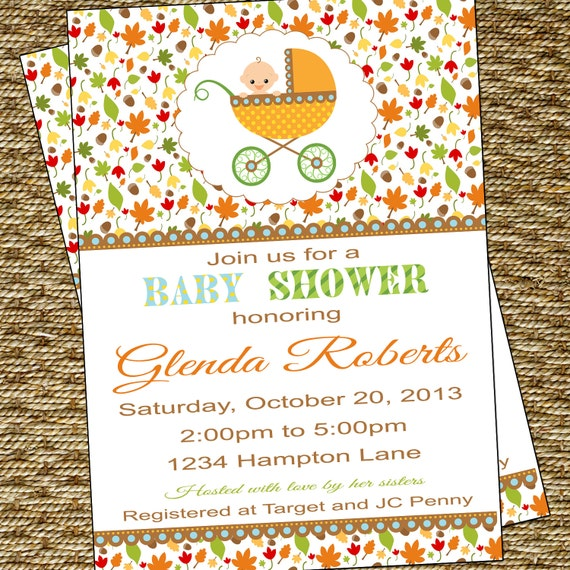 fall baby shower invitation neutral boy or girl