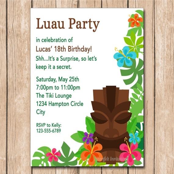 luau birthday invitation tiki mask by heartfeltinvitations
