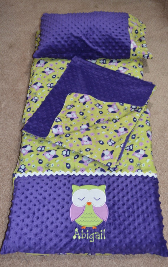 Items Similar To Owl Nap Mat Cover With Pillow And Blanket