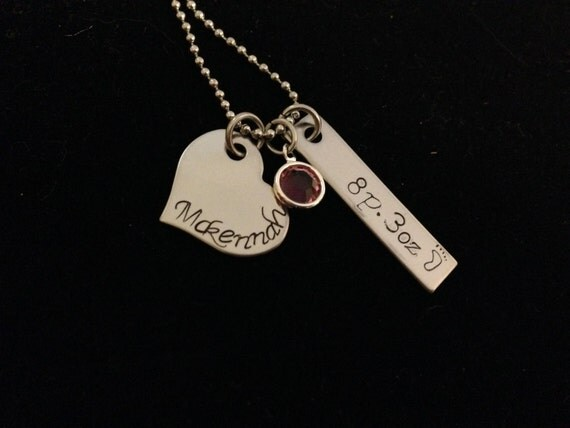 Personalized Necklace with Swarovski Birthstone- Great Gifts for new Mums