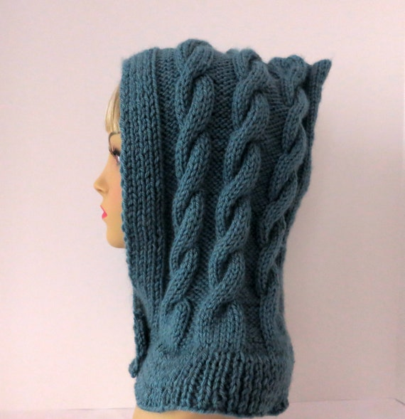 Knitting Pattern Hood Hat : PDF 136 Pattern Knit Hat Knitted Hood Pattern PDF Knitted Hood