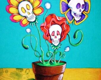 Day of the Dead/ Dia de Los Muertos Print - Flores Muertos by Lisa Cabrera