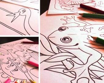 7 downloadable coloring book for children / Printer has vonlonté