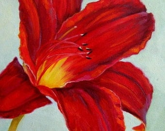 """Jennifer Berry Fine Art 2013 """"Red Lily"""" 10x8"""" original oil painting on canvas"""