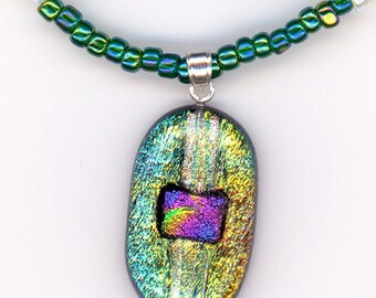 Mossy Green Necklace, Large Dichroic Glass Pendant Multicolor