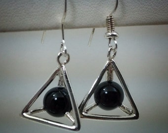 Sterling silver pyramid earrings with black onyx