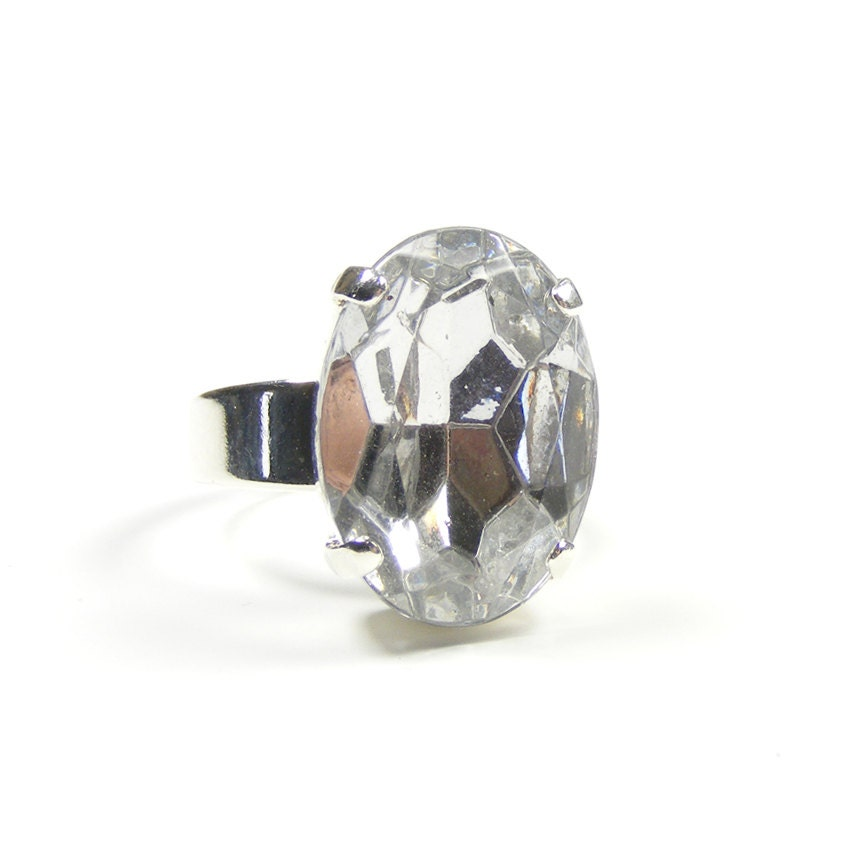 Clear Crystal Statement Ring, Adjustable Ring, Great Gatsby Jewelry