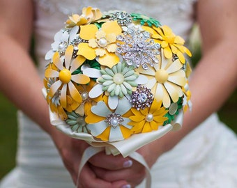 Custom Enamel Brooch Bouquet, Brooch Bouquet, Bridal Bouquet, Wedding Bouquet, Jeweled Bouquet- 8 inch Bouquet