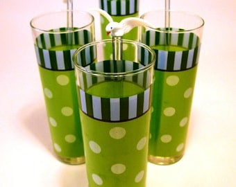 5 Vintage Green & White Polka Dot Glasses with Glass Stirs