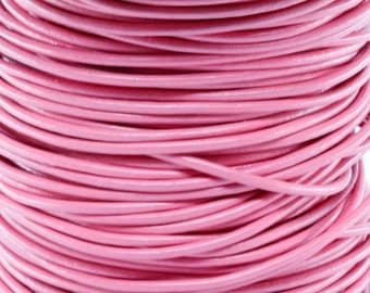 10 Meters of 2MM Pink Round Leather Cord (10 Yards) (10m)