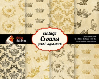Crown Digital Paper - Scrapbook Paper Crafts Decoupage Backdrop Gold Royal 12x12 Instant Download 8018
