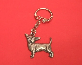 Chihuahua Dog Pewter Motif Key Ring Mothers Day Gift