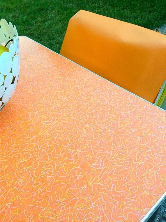Mid Century Orange Boomerang Formica Kitchen Dining Table