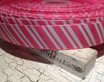 "7/8"" Diagonal CANDY Stripe Hot PINK and WHITE Grosgrain Ribbon sold by the yard"