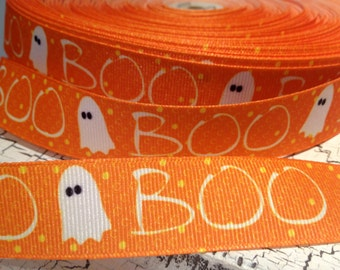 "7/8"" HALLOWEEN Boo and Ghost ORANGE grosgrain ribbon sold by the yard"