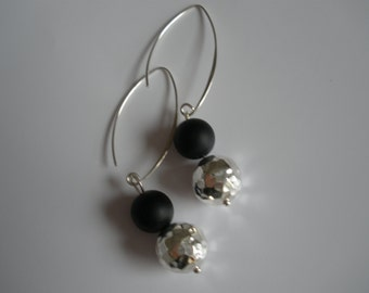 Sterling silver and matte black onyx earrings