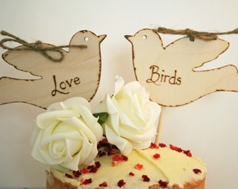 Cake Topper Rustic Cake Topper Love Birds