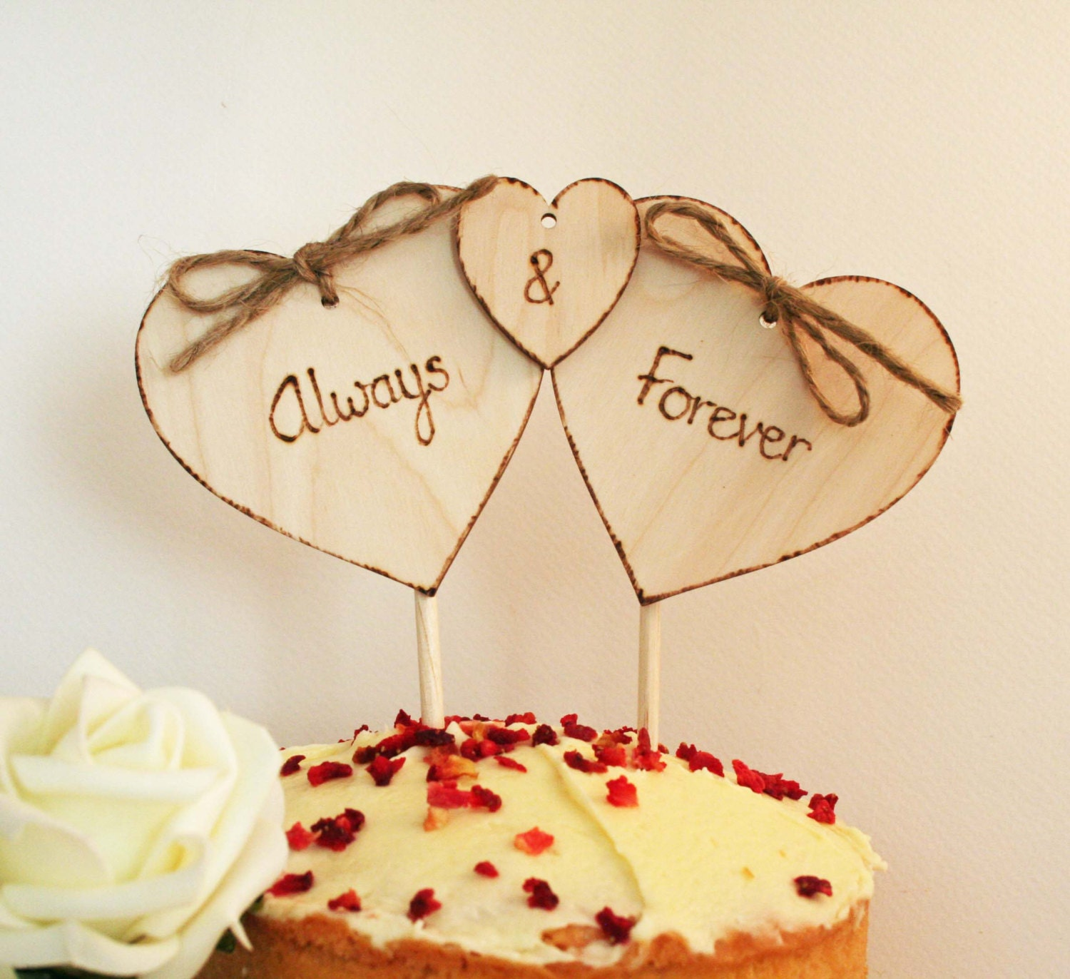Cake Topper, Rustic cake Topper, Always and Forever, Wedding Vow ...