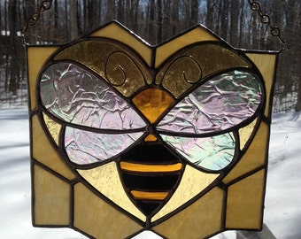 Stained Glass Honey Bee LOVE