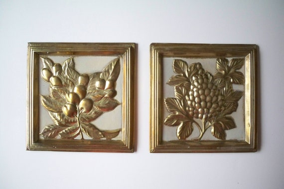 Vintage Fruit Wall Decor : Vintage pair of brass fruit wall art by timebanditvintage
