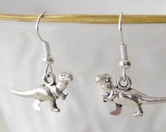 Tiny Dinosaur Earrings, T Rex Earrings, Silver Dinosaur Earrings, T-Rex Earrings, Geek Jewelry, Rawr Earrings, Dinosaur jewelry