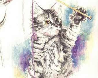 Original drawing, colored pencil, kitten, cat, knitting, cute, furry, 9.5 x 11""