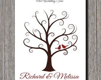Wedding Guest Fingerprint Tree - 16x20 - Personalized Wedding Thumbprint Tree